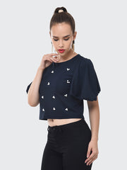 Navy Imported Crepe Pearl Embellished Short Top-2083