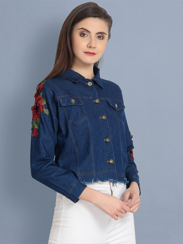 Dark Blue Floral Print Denim Jacket-2151B