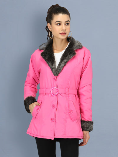 Pink NS Butter Women Jacket with Fur Collar-2506