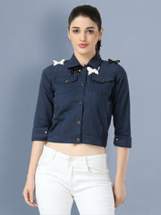 Navy Blue Butterfly Twil Denim Jacket For Women-2503