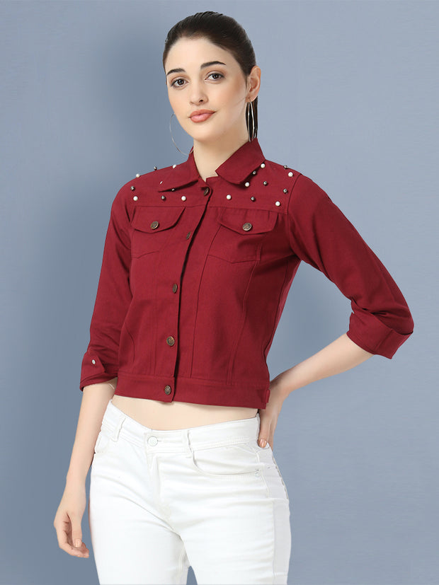 Maroon Pearl Embellished Twil Denim Jacket For Women-2498