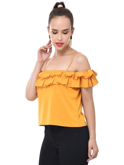 Yellow Imported Crepe Off-Shoulder Crop Top-2080