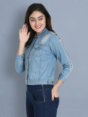 Light Blue Striped Buttoned Denim Jacket-2176B