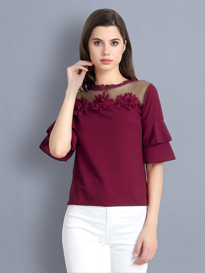 Maroon Cotton Blend Floral Lace Top-2302