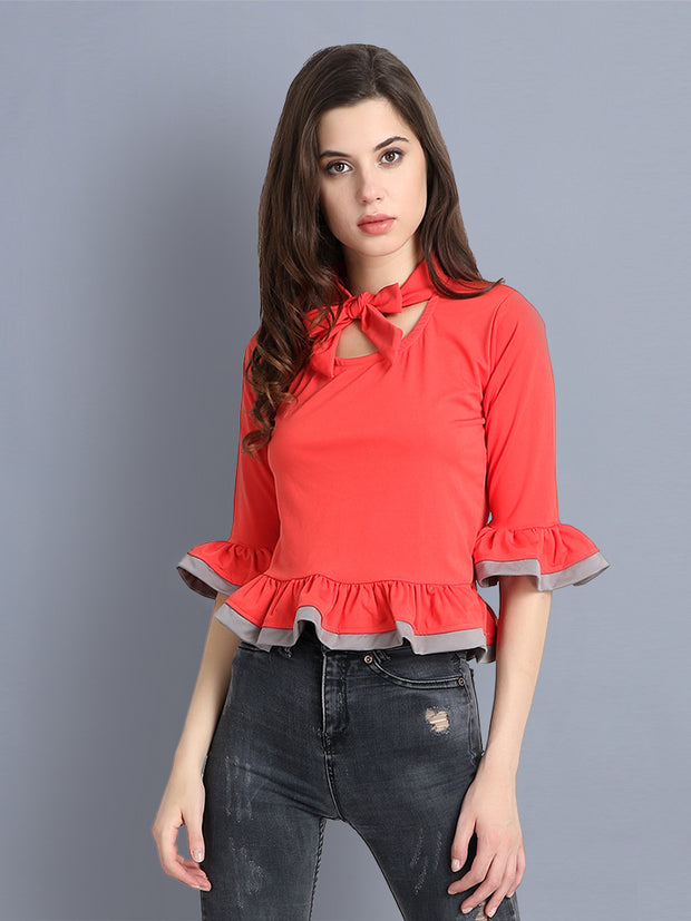 Red Cotton Blend Tie-Knot Top-2298