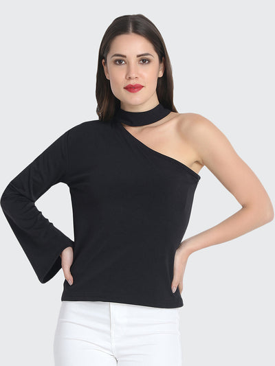 Black Cotton Blend One shoulder Top-2218