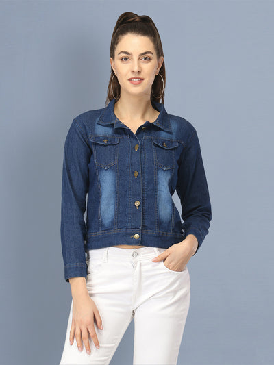 Solid Dark Blue Denim Buttoned Jacket For Women-2436E