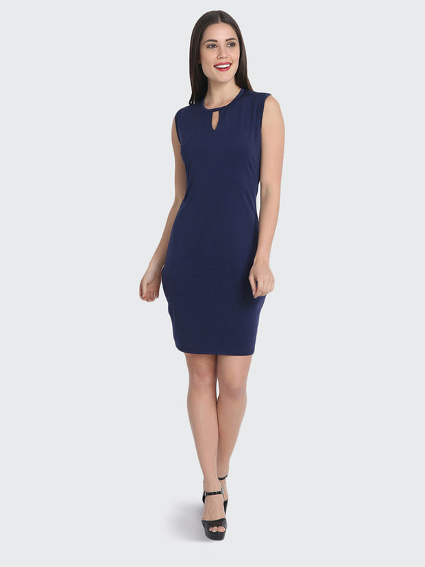 Navy Cotton Blend Knee-Length Bodycon Dress-2225