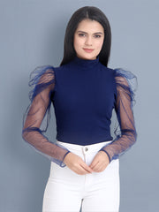 Navy Carrera Solid Net Top-2450