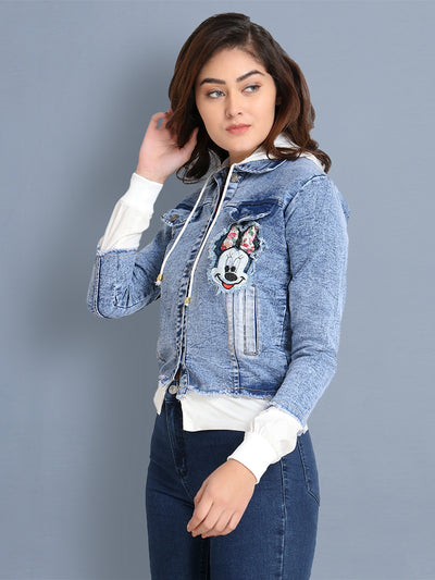 Light Blue Printed Denim Shirt Jacket With Hoodie-2438