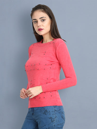 Pink Woolen Pearl Embellished Sweater-2430
