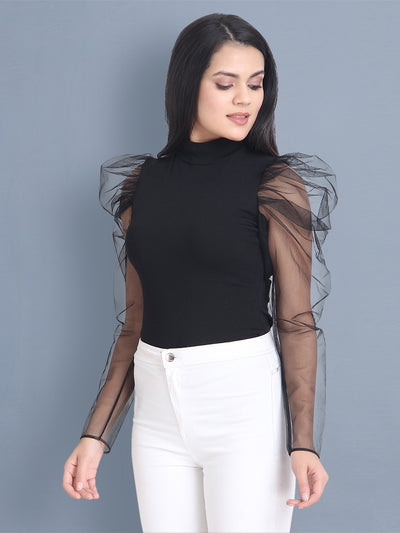 Black Carrera Solid Net Top-2449