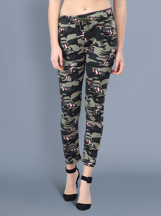 Multicolor Camouflage Print Women Track Pant-2516