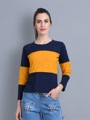 Navy Yellow Color Block Women T-Shirt-2308