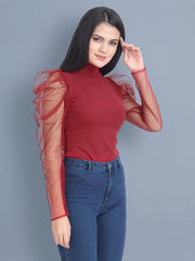 Maroon Carrera Solid Net Top-2451
