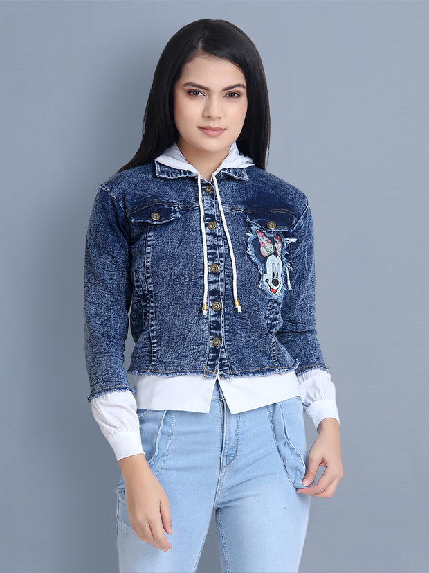 Mid Blue Printed Denim Shirt Jacket With Hoodie-2453