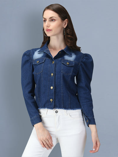 Dark Blue Puff Sleeve Buttoned Denim Women's Jacket-2551