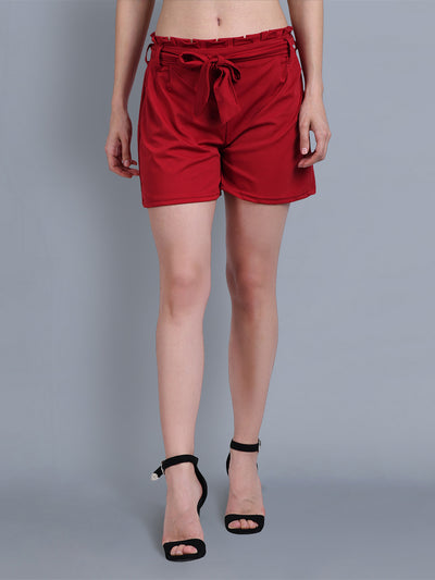 Maroon Cotton Blend Belted Short-2317