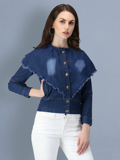 Dark Blue Poncho Style Denim Women's Jacket-2548