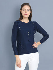 Navy Woolen Pearl Embellished Sweater-2434