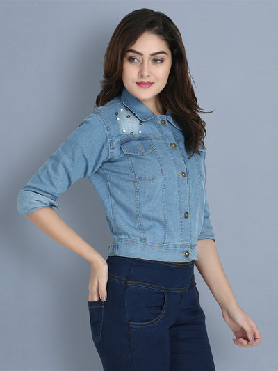 Light Blue Embellished Pearl Denim Jacket-2153B