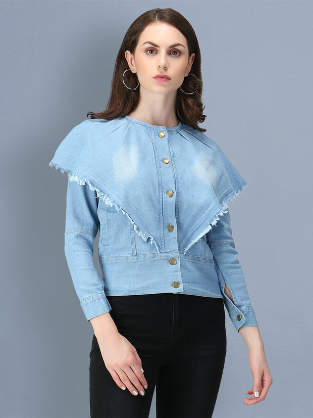 Light Blue Poncho Style Denim Women's Jacket-2549