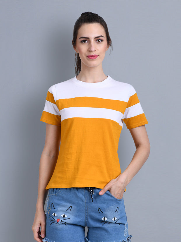 White Yellow Color Block Women T-Shirt-2312