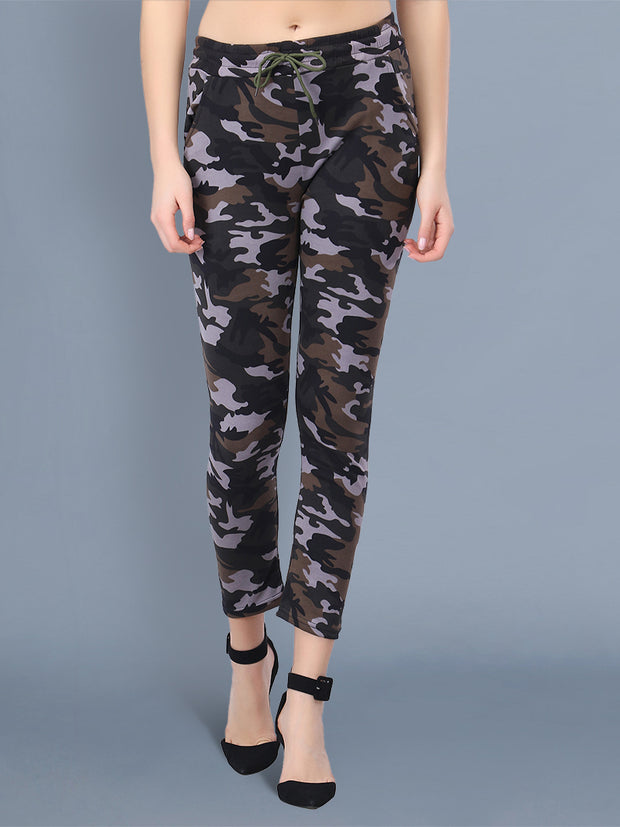 Multicolor Camouflage Print Women Track Pant-2517