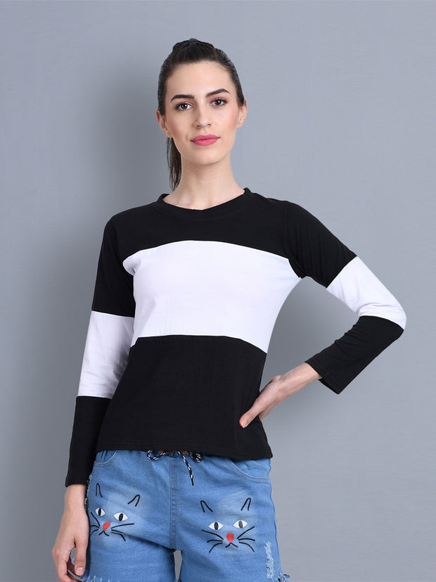 Black White Color Block Women T-Shirt-2307