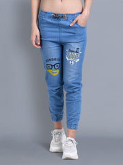 Light Blue Printed Skinny Fit Denim Jogger Jeans-2327