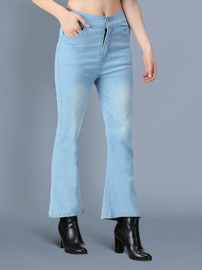 Denim Light Blue Boot Cut Solid Jeans For Women-2557