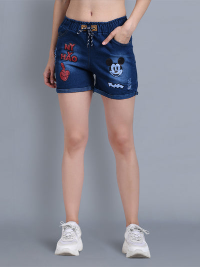 Denim Dark Blue Printed Short-2322