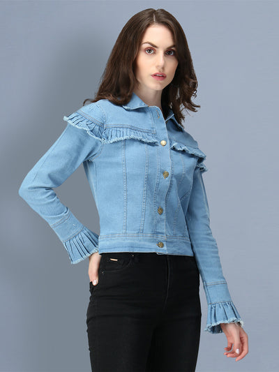 Light Blue Puff Sleeve Denim Women's Jacket-2546