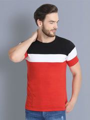 Red White Black Color Block Cotton Men T-Shirt-2346