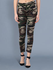 Multicolor Camouflage Print Women Track Pant-2515