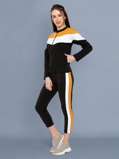 Black Yellow and White Striped Imported Lycra Women Tracksuit-2533