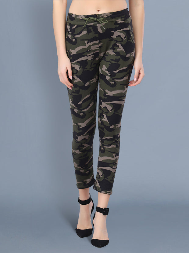 Multicolor Camouflage Print Women Track Pant-2514