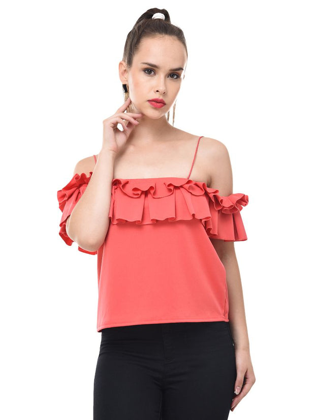 Gajri Imported Crepe Off-Shoulder Crop Top-2079