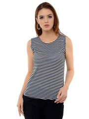 Black N White Hosiery Lycra Striped Top-2038