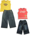 Mish Mish Baby Boys Infant Toddler Sleeveless Denim Jean 2 Piece Pant Sets, 17808