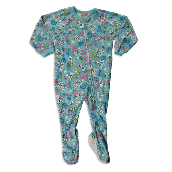 Carters Watch The Wear - Little Girls' Footed Cats Blanket Sleeper, Turquoise 23795-4