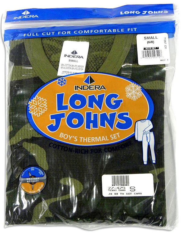 Indera Boys Long Sleeve Thermal Long John Underwear Pant and Top Set, 27476
