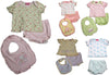 Little by Little Baby Newborn Girls Short Sleeve Print Diaper Bib Shirt Sets, 28734