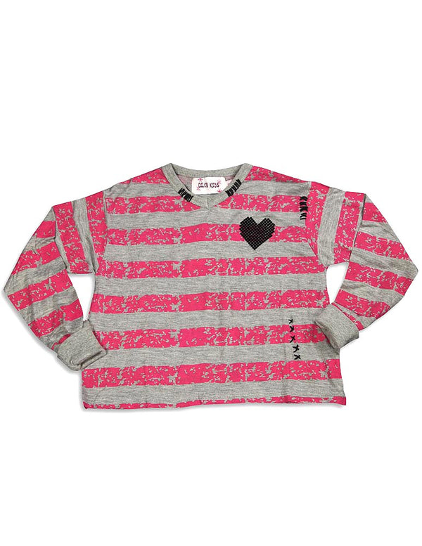 Celeb Kids - Little Girls Long Sleeve Crop Striped Top