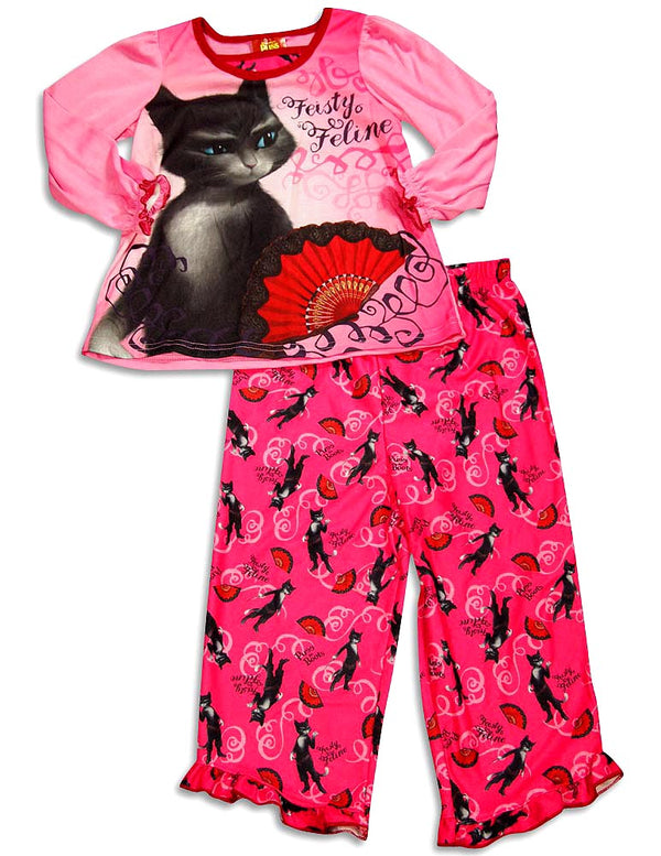 Puss In Boots - Little Girls' Long Sleeve Puss In Boots Pajamas