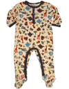 Pepper Toes - Baby Boys Long Sleeve Footed Zoo Pals Coverall