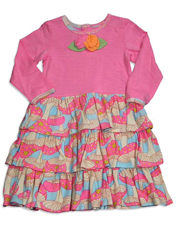 Baby Lulu - Little Girls Long Sleeve Ava Mushroom Dress, Pink, Multi 30357-2T
