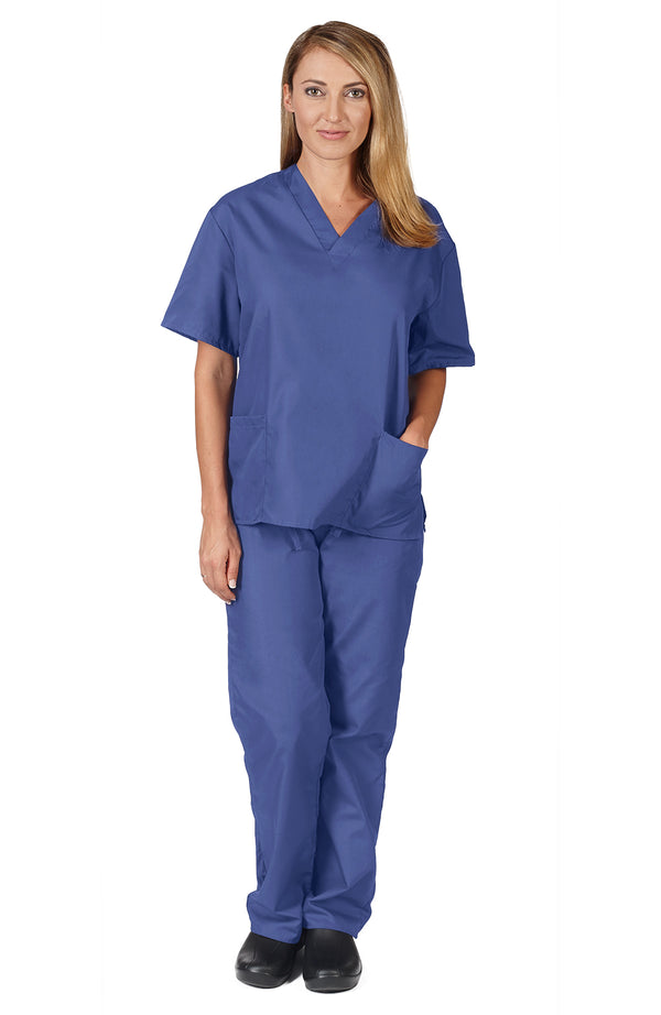 Natural Uniforms - Women's Scrub Set (Assorted Colors, XS-3X) Medical Scrub Top and Pant, Ceil Blue 30987-Large