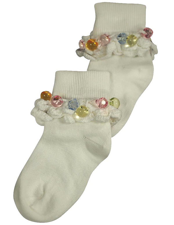 Tic Tac Toe Girls Rollover Beadbop Sock