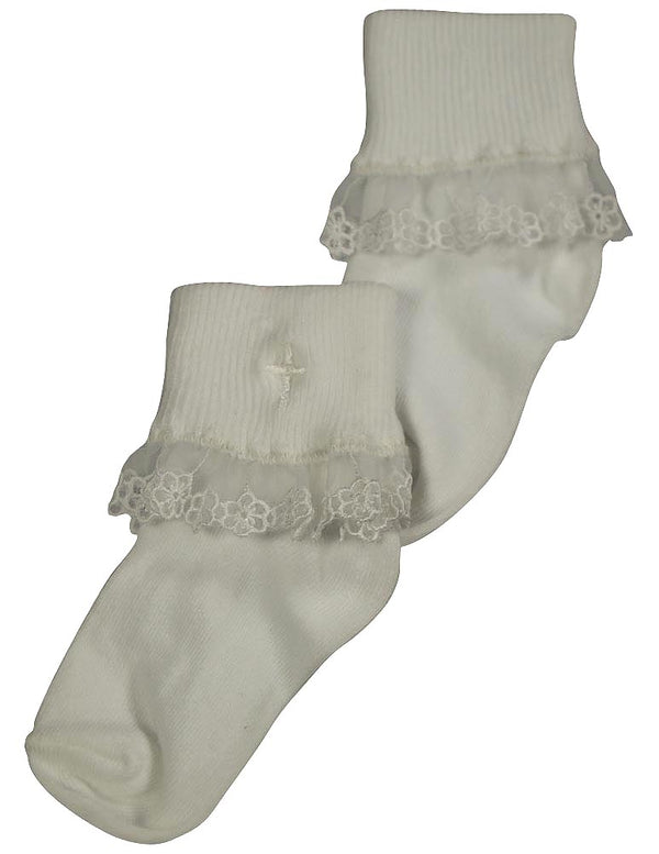 Tic Tac Toe Girls Rollover Lace Sock